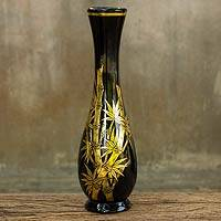 Lacquered wood decorative vase, 'Golden Bamboo' - Handcrafted Lacquer Wood Decorative Vase