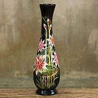 Lacquered wood decorative vase, 'Lotus Paradise' - Black Lacquer Thai Vase Fair Trade Wood