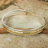 Gold accent sterling silver cuff bracelet, 'Ripple Effect II'