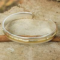 Gold accent sterling silver cuff bracelet, 'Ripple Effect II' - Gold Accent Sterling Silver Matte Cuff Bracelet