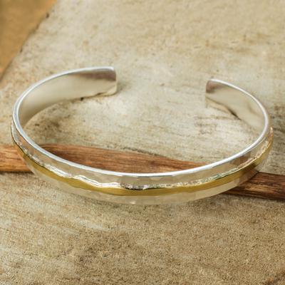 Gold accent sterling silver cuff bracelet, 'Ripple Effect I' - Gold Accent Sterling Silver Hammered Cuff Bracelet