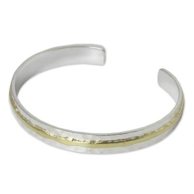 Gold accent sterling silver cuff bracelet, 'Ripple Effect I' - Gold Accent Sterling Silver Hammered Cuff Bracelet