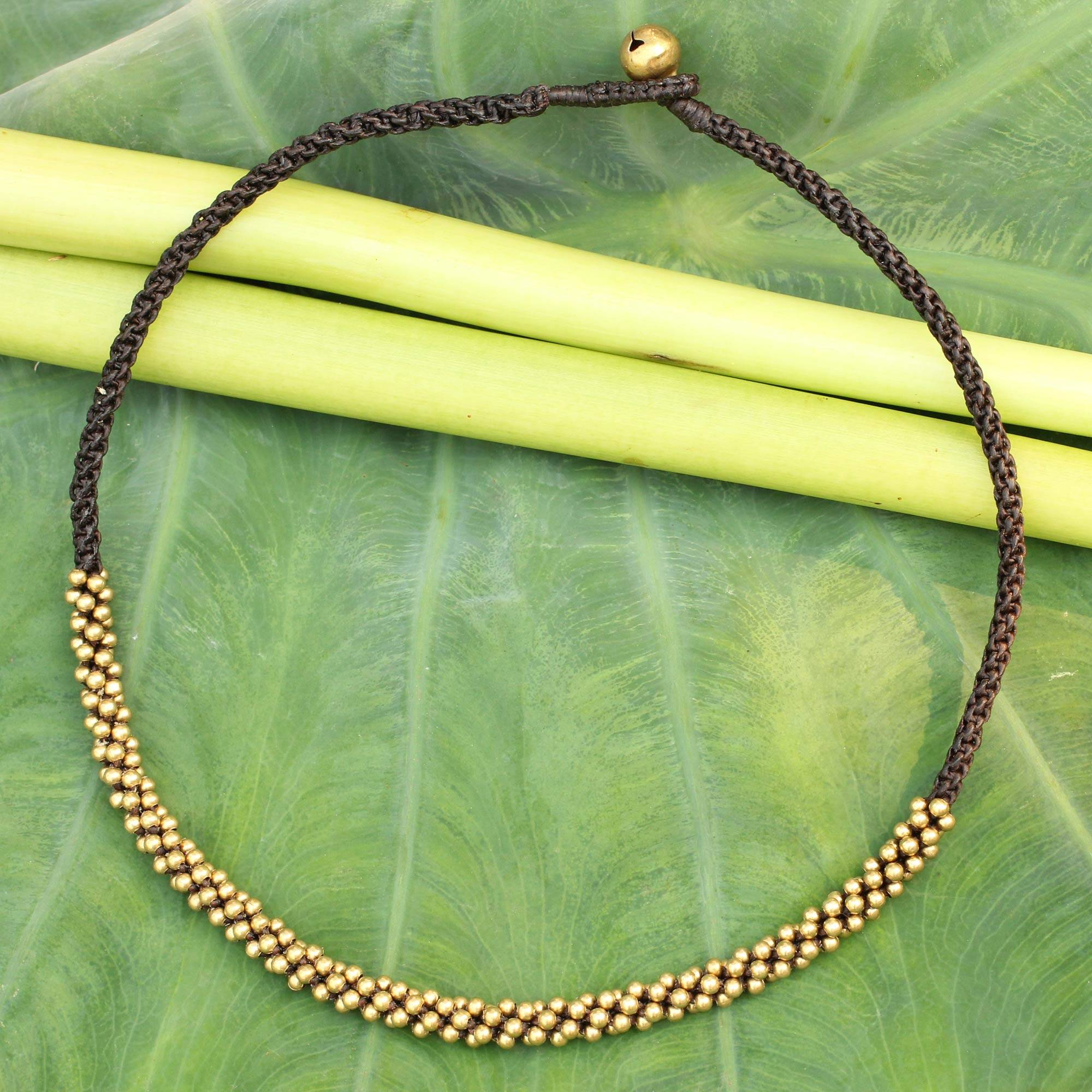 Thai Light Artisan Crafted Brass Beaded Necklace The Perfect Necklace