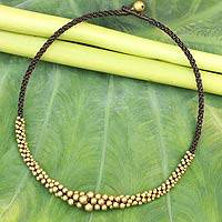 Beaded necklace, 'Ethnic Cosmos' - Brass Beaded Necklace
