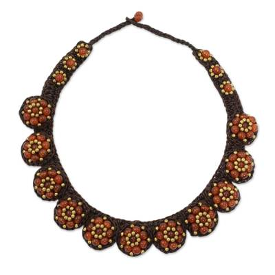 Carnelian and Brass Hand Crocheted Necklace