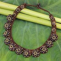 Amethyst beaded flower necklace,