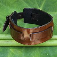 Men's leather wristband bracelet, 'Lanna Warrior in Brown'