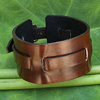 Men's leather wristband bracelet, 'Wider Lanna Warrior in Brown' - Men's Artisan Crafted Leather Wristband Bracelet
