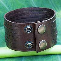 Men's leather wristband bracelet, 'Siam Destiny' - Handcrafted Men's Leather Wristband Bracelet