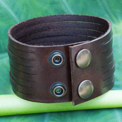 Men S Leather Wristband Bracelet Siam Destiny Handcrafted