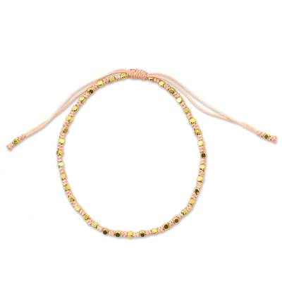Fair Trade Handcrafted Gold Accent Macrame Bracelet