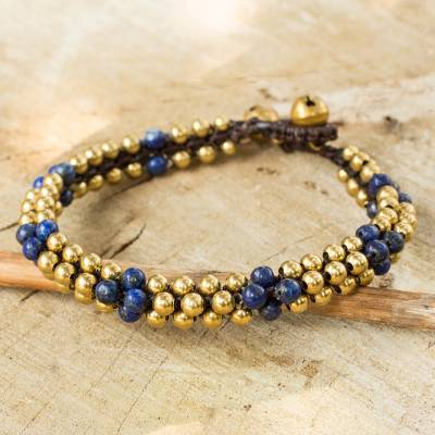 Lapis lazuli beaded bracelet, 'Ethnic Galaxy' - Fair Trade Handcrafted Lapis Lazuli and Brass Bracelet