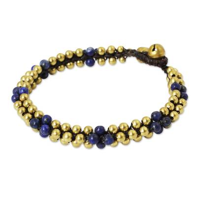 Lapis lazuli beaded bracelet, 'Ethnic Galaxy' - Fair Trade Handcrafted Lapis Lazuli and Brass Bracelet