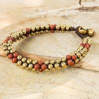 Jasper beaded bracelet, 'Ethnic Galaxy' - Fair Trade Handcrafted Jasper and Brass Bracelet