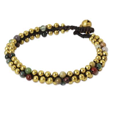 Fair Trade Handcrafted Jasper and Brass Bracelet
