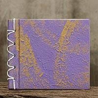 Saa paper notebook, 'Golden Lilac' - Handmade Purple Saa Paper Notebook