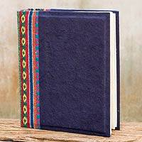 Saa paper photo album, 'Blue Geometry' - Dark Blue Handmade Saa Paper Cotton Trim Photo Album