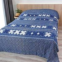 Cotton batik bedspread, 'Hmong Art' (twin) - Blue Cotton Batik Hill Tribe Bedspread (twin)