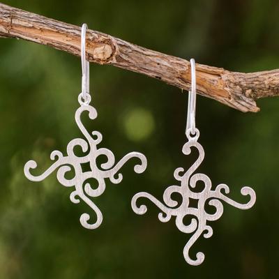 Sterling silver dangle earrings, 'Thai Delicacy' - Fair Trade Earrings Thai Sterling Silver