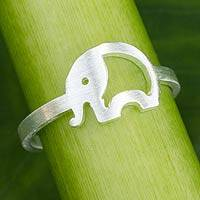 Sterling silver band ring, 'Lovely Elephant' - Thai Artisan Crafted Sterling Silver Band Ring
