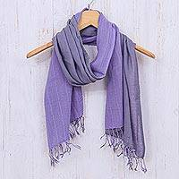 Cotton scarf, 'Purple Duo'