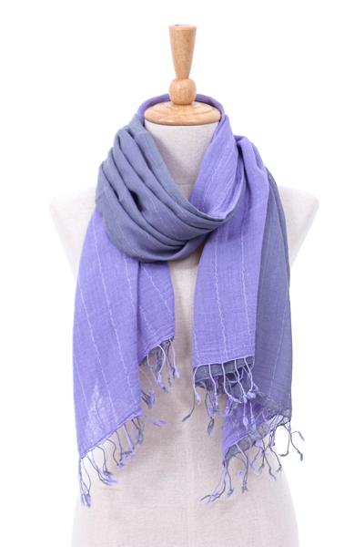 Cotton scarf, 'Purple Duo' - Thai Purple Cotton Scarf
