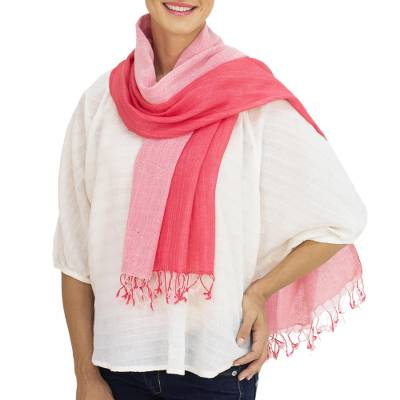 Cotton scarf, 'Red Duo' - Thai Red and Pink Cotton Scarf