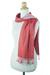Cotton scarf, 'Red Duo' - Thai Red and Pink Cotton Scarf (image 2b) thumbail