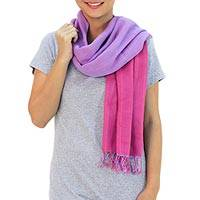 Cotton scarf, 'Lilac Rose Duo'