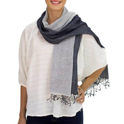 Cotton scarf, 'Duo' - Thai Hand Crafted Cotton Scarf