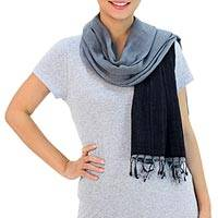 Cotton scarf, 'Grey and Black Duo'
