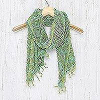 Cotton scarf, 'Breezy Blue and Green'