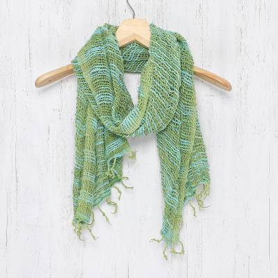 Cotton scarf, 'Breezy Blue and Green' - Thai Blue and Green Cotton Scarf