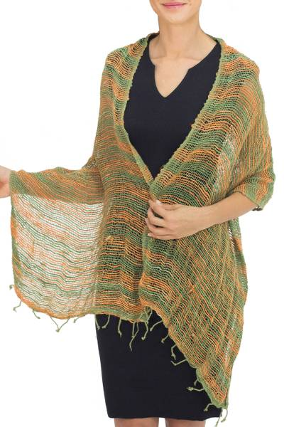 Cotton scarf, 'Breezy Green and Ginger' - Thai Green and Orange Cotton Scarf
