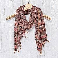 Cotton scarf, 'Breezy Red and Grey'