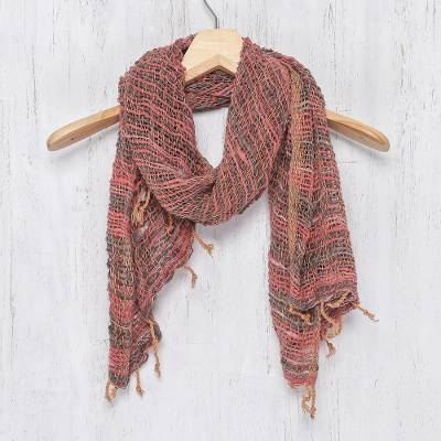 Cotton scarf, 'Breezy Red and Grey' - Thai Red and Grey Cotton Shawl