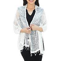 Cotton shawl, 'Breezy White'