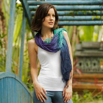 Silk scarf, 'Cool Transition' - Blue Green Purple Silk Scarf