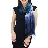 Silk scarf, 'Sweet Transition' - Blue Green Grey Silk Scarf