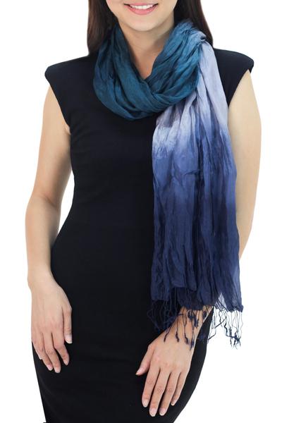 Silk scarf, 'Sweet Transition' - Blue Green Grey Silk Scarf