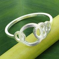 Sterling silver band ring, 'Circle Dance'