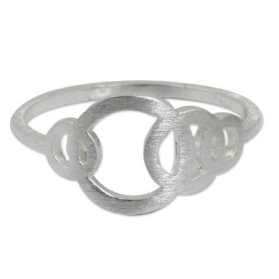 Sterling silver band ring, 'Circle Dance' - Artisan Crafted Silver Geometric Ring