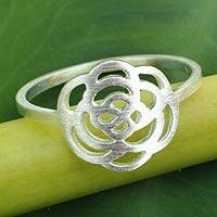 Sterling silver flower ring, 'Fantastic Rose' - Fair Trade Sterling Silver Ring from Thailand
