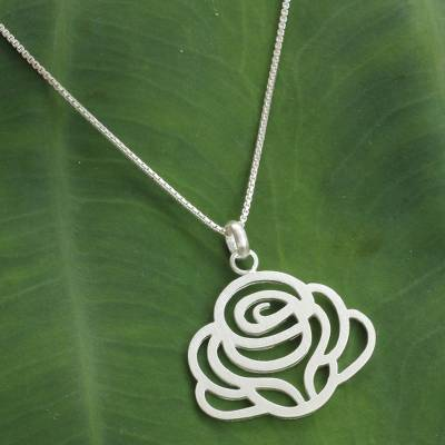 Sterling silver flower necklace, 'Lanna Rose' - Fair Trade Sterling Silver Floral Necklace