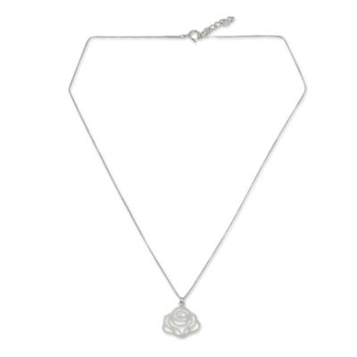 Sterling silver flower necklace, 'Lanna Rose' - Fair Trade Sterling Silver Floral Necklace