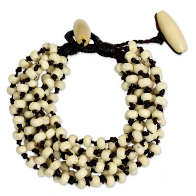 Hand-knotted Torsade Bracelet Wood Beaded Jewelry