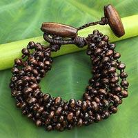 Wood beaded bracelet, 'Sukhothai Belle'