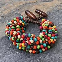 Wood beaded bracelet, 'Trang Belle'