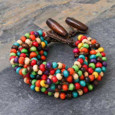 Wood beaded bracelet, 'Trang Belle' - Multicolor Wood Beaded Artisan Crafted Bracelet