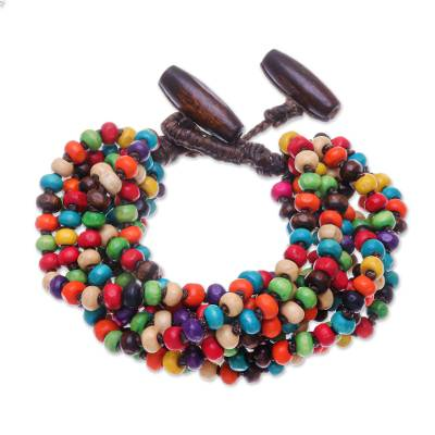 Multicolor Wood Beaded Artisan Crafted Bracelet